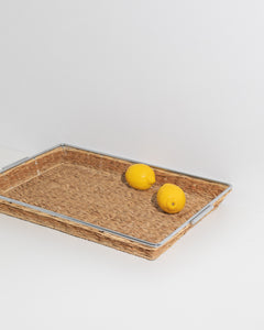 large chrome and rotan tray