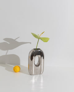 chromed ceramic vase