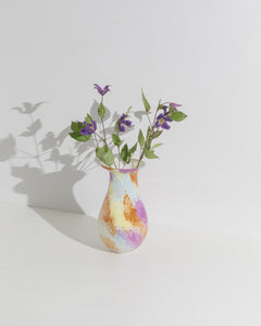 tall multi colored glass vase