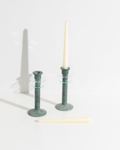 green marble candlesticks