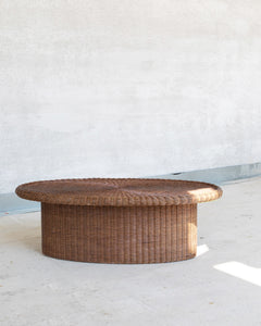 oval rotan coffee table