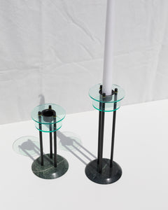 candlestick set in marble and glass