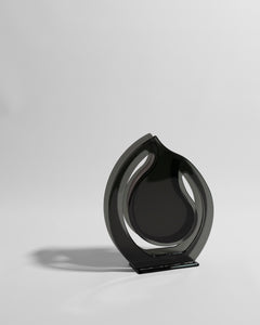 black sculptural vase