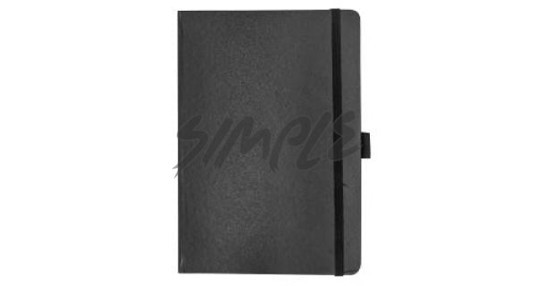 A5 Hard Cover Notebook With Pen Holder And Bookmark Ribbon Black Book