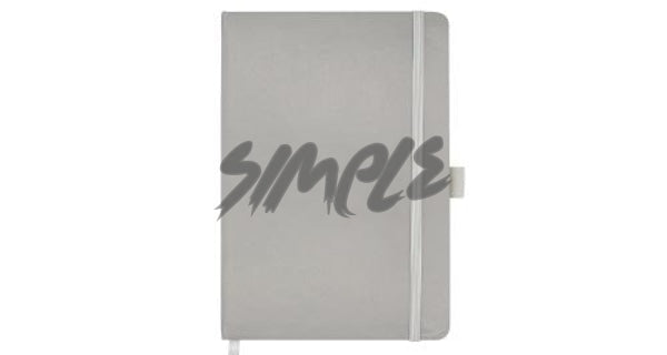 A5 Hard Cover Notebook With Pen Holder And Bookmark Ribbon Grey Book