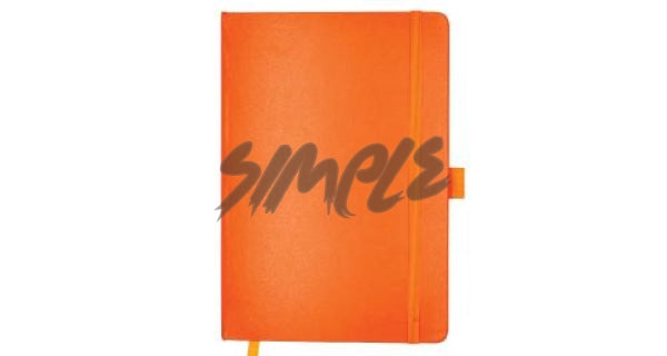 A5 Hard Cover Notebook With Pen Holder And Bookmark Ribbon Orange Book