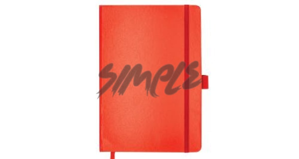 A5 Hard Cover Notebook With Pen Holder And Bookmark Ribbon Red Book
