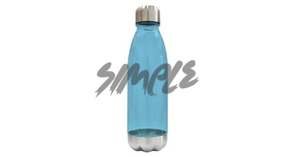 Bottle With Steel Cap And Base Blue