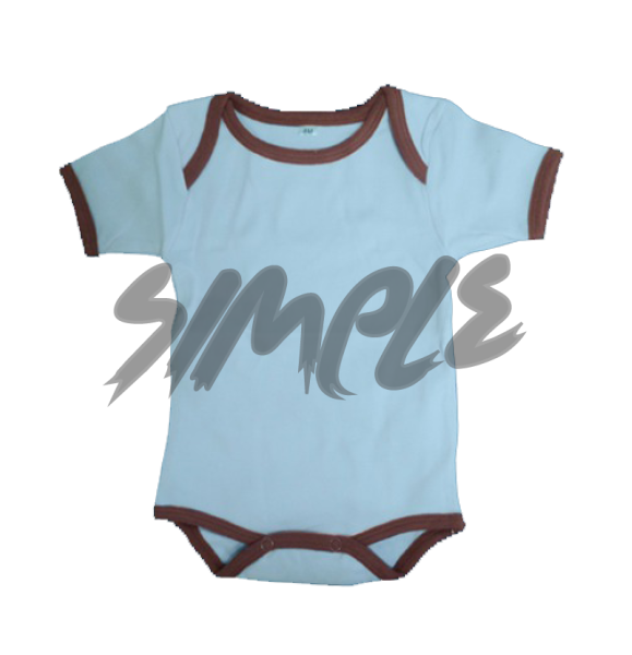 Rompers 0-3 / Blue With Brown Stripe
