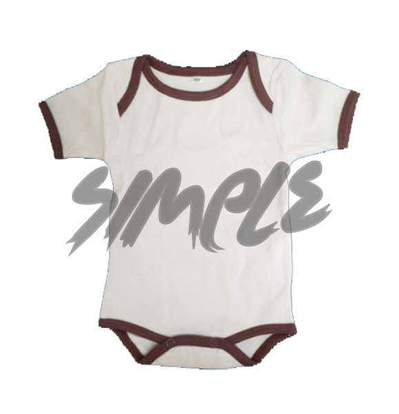 Rompers 0-3 / White With Brown Stripe