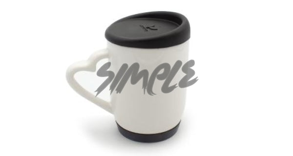 With Silicone Cap & A Heart Handle Black Mug