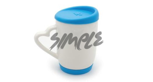 With Silicone Cap & A Heart Handle Blue Mug