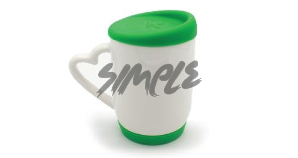 With Silicone Cap & A Heart Handle Green Mug