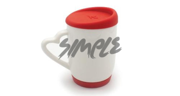 With Silicone Cap & A Heart Handle Red Mug