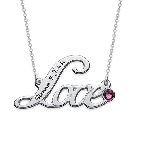 18K Gold Plante Birthstone Love Name Necklace