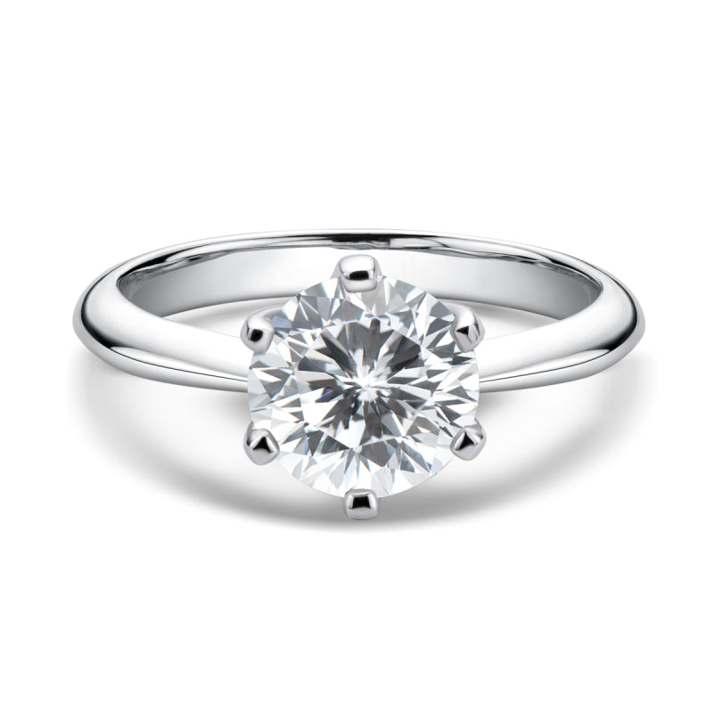 Sterling Silver 2.0ct Round Cut Mosanite Solitaire Ring