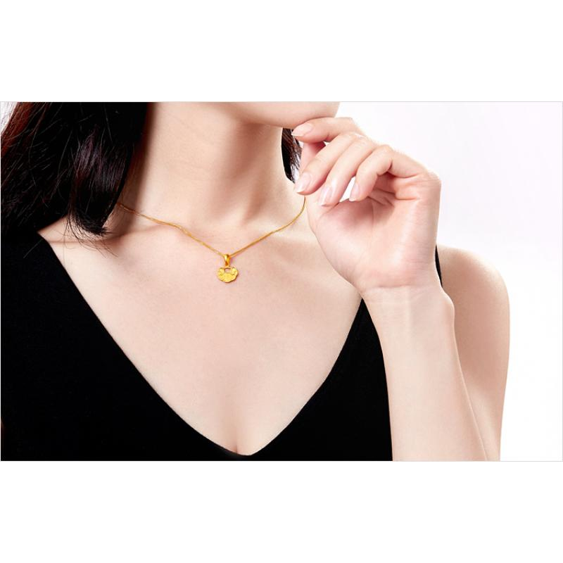 24k Pure  Gold Lock Pendant with 18'' Silver Chain