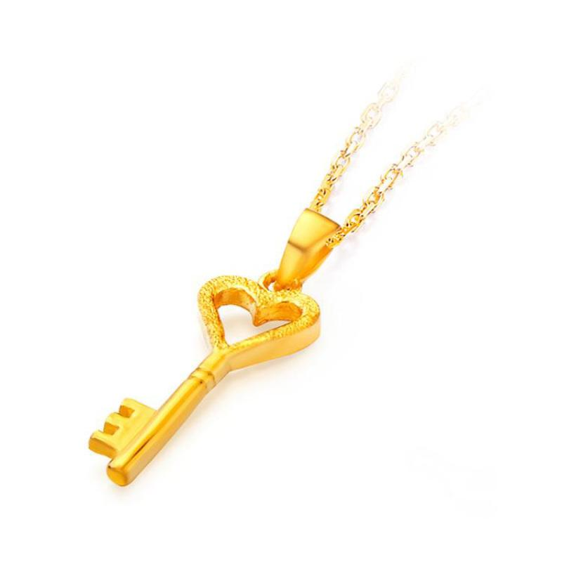 24K Gold Key Light Sand  Pendant With 18 inches Silver Chain