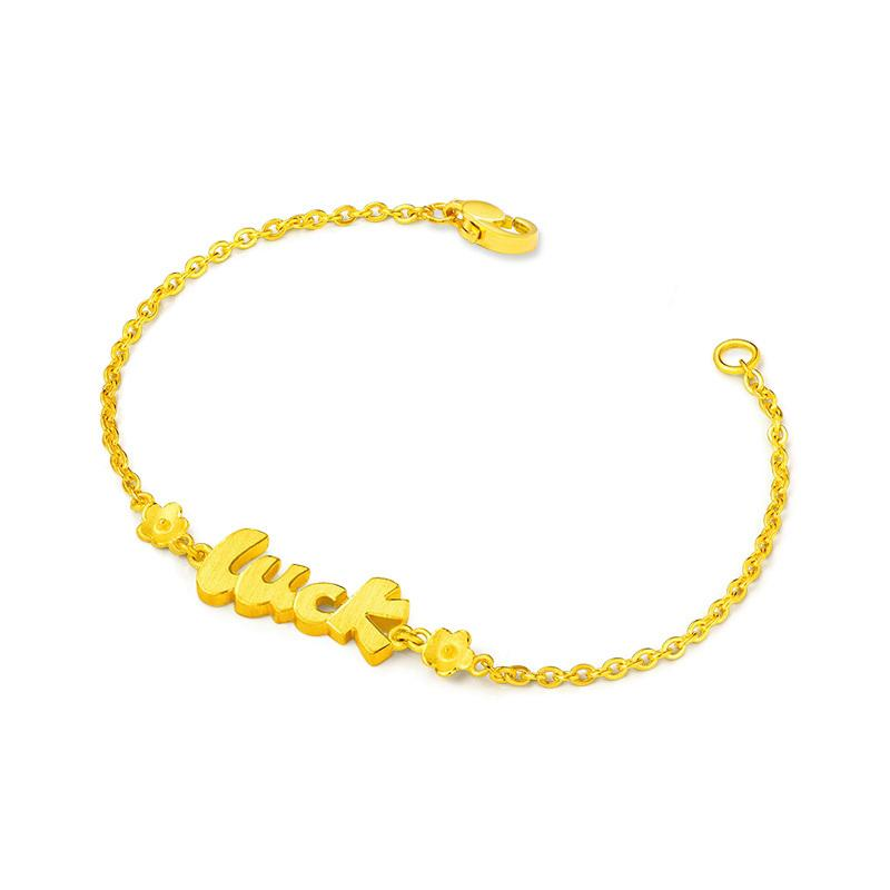 24K Solid Gold LUCK Bracelet Gifts for Women