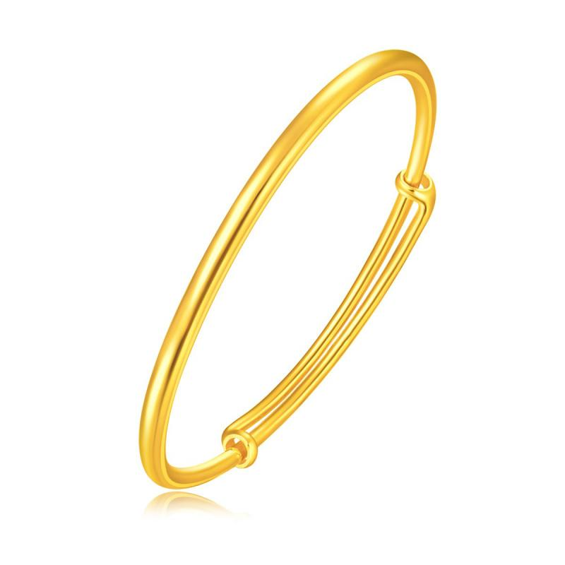 24K Solid Gold Simple Bangle for Women, Fine Jewelry Adjustable