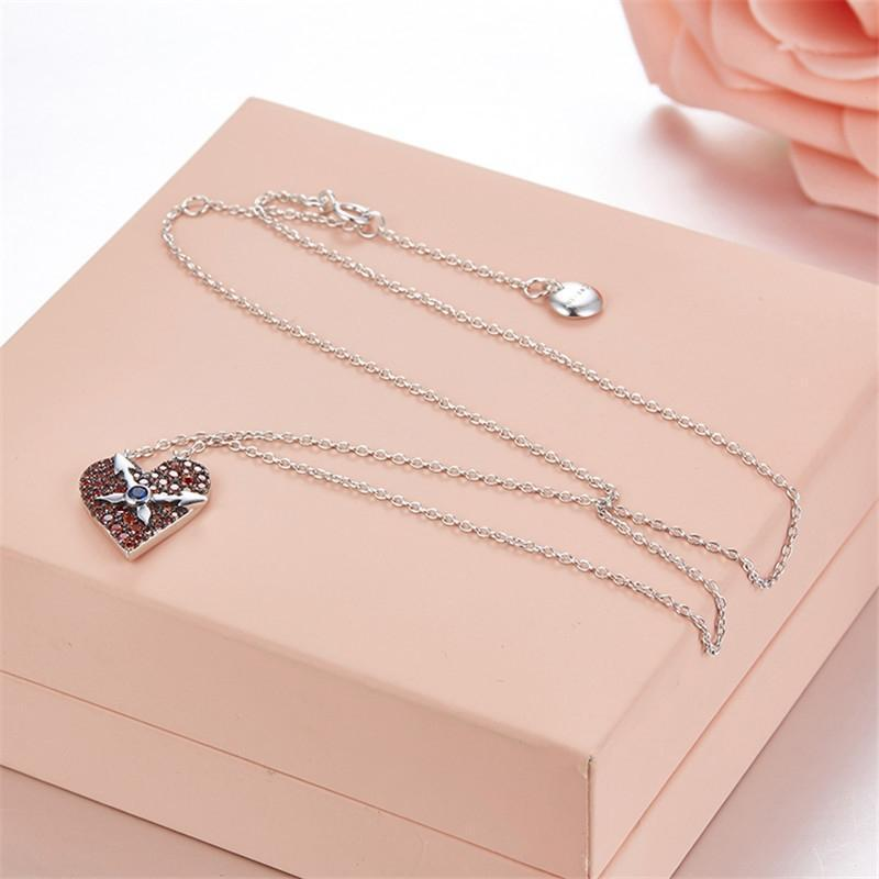 Sterling Silver Heart Clock Design Necklace