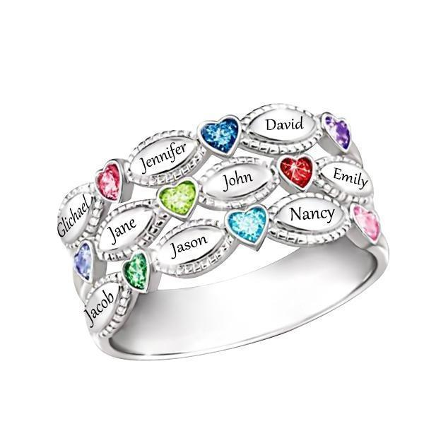 Personalized Nine Birthstone Mothers Ring