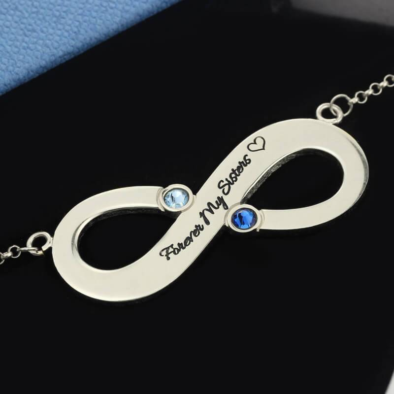 Infinity Name Necklace with Two Birthstones