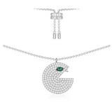 Green Eye Specter Monster Sterling Silver Charm Pendant Necklace