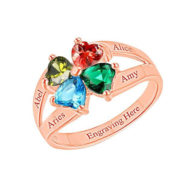 Personalized Four Birthstone Mothers Ring