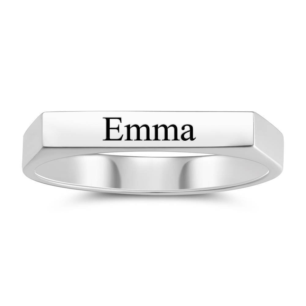 Personality Engraved Name Ring Silver Elegant Gift