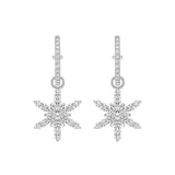 Round Snowflake Drop Earrings