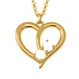 2 Names And Birthstones Heart Necklace