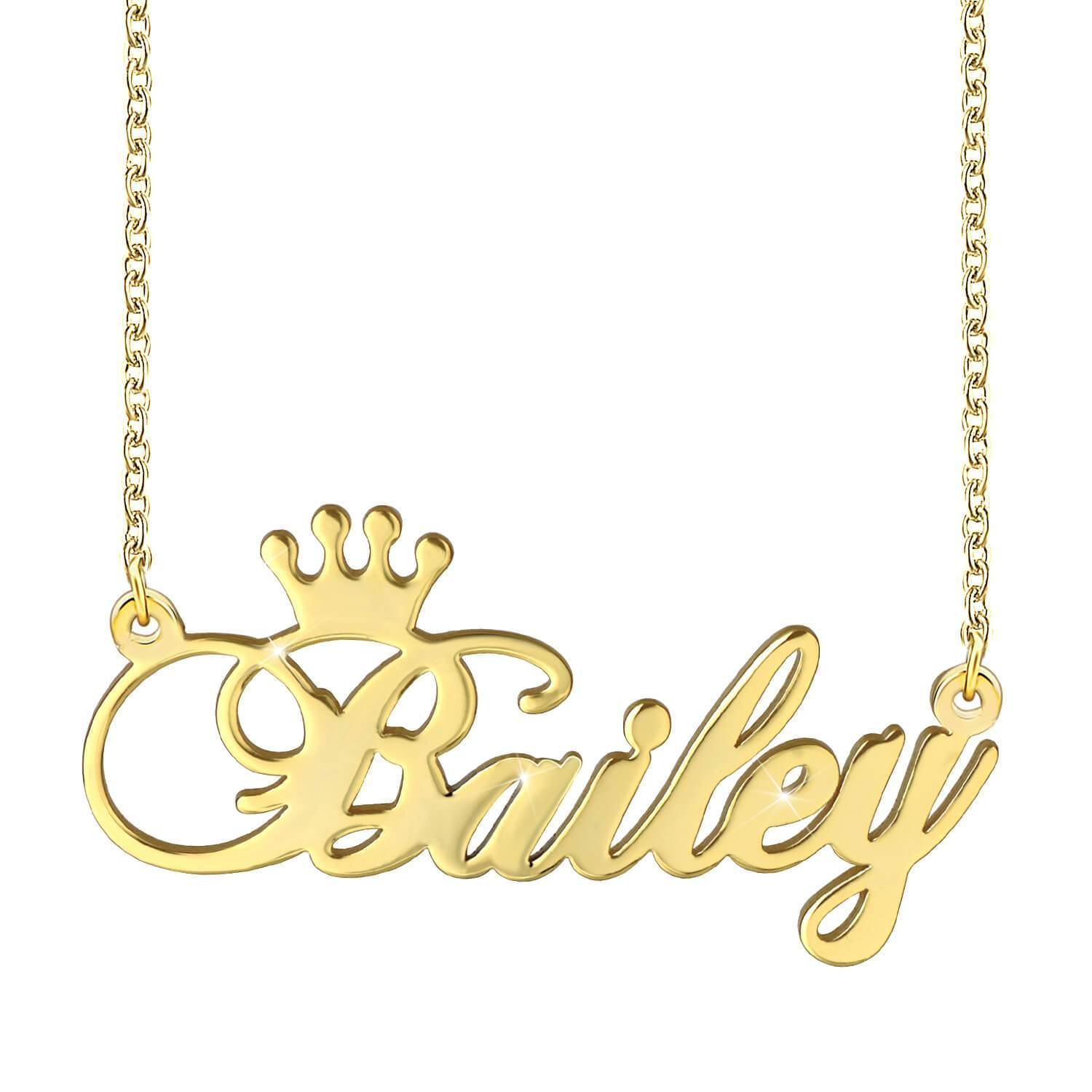 18K Gold Plated Crown Engraved Name Necklace  Personalized