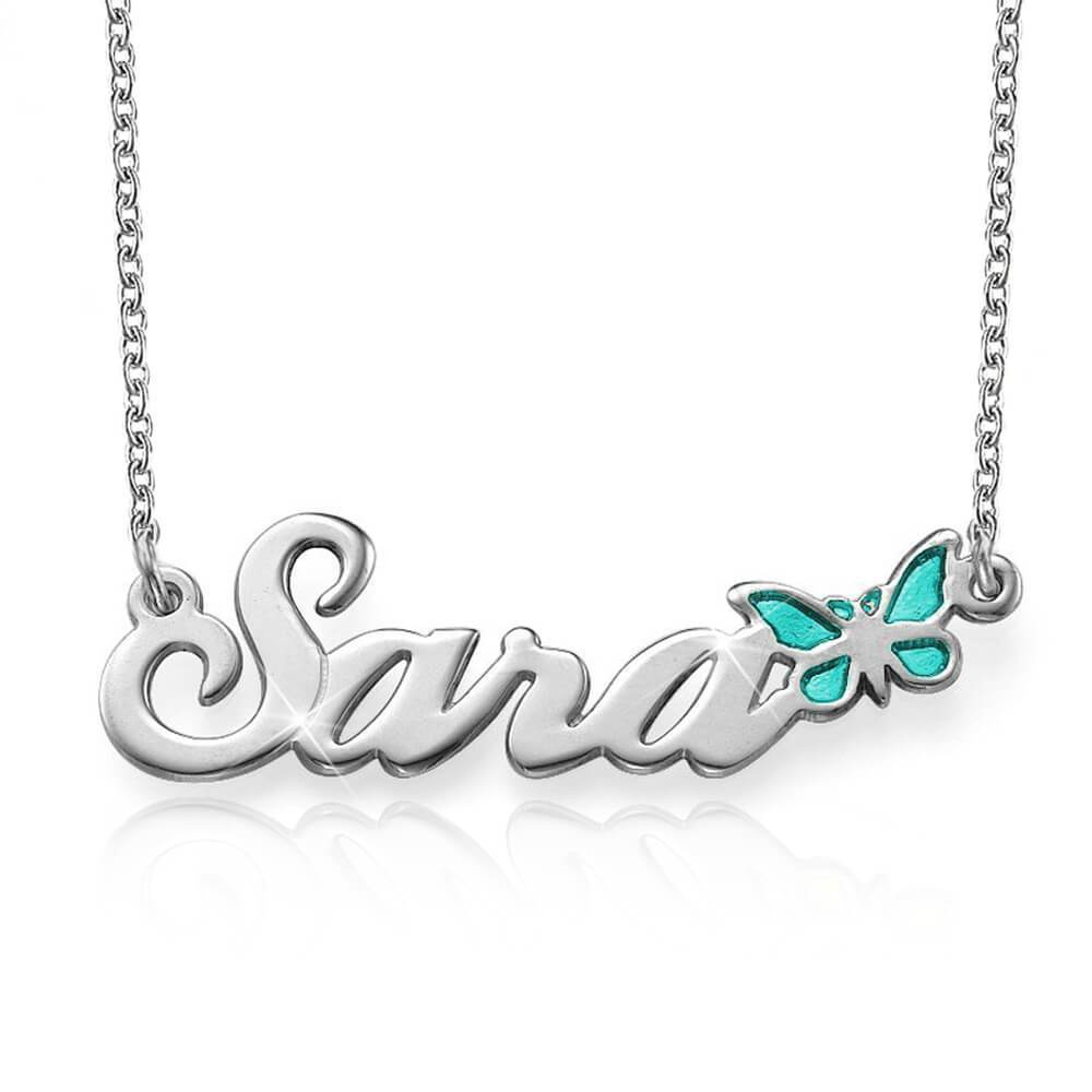 White Gold with Color Butterfly Name Necklace