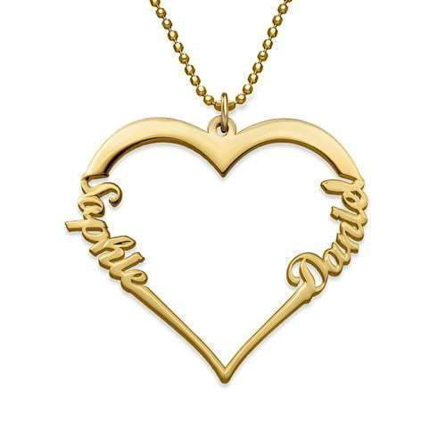 Personalized Two Name Heart Necklace for Women 18K Gold Plated
