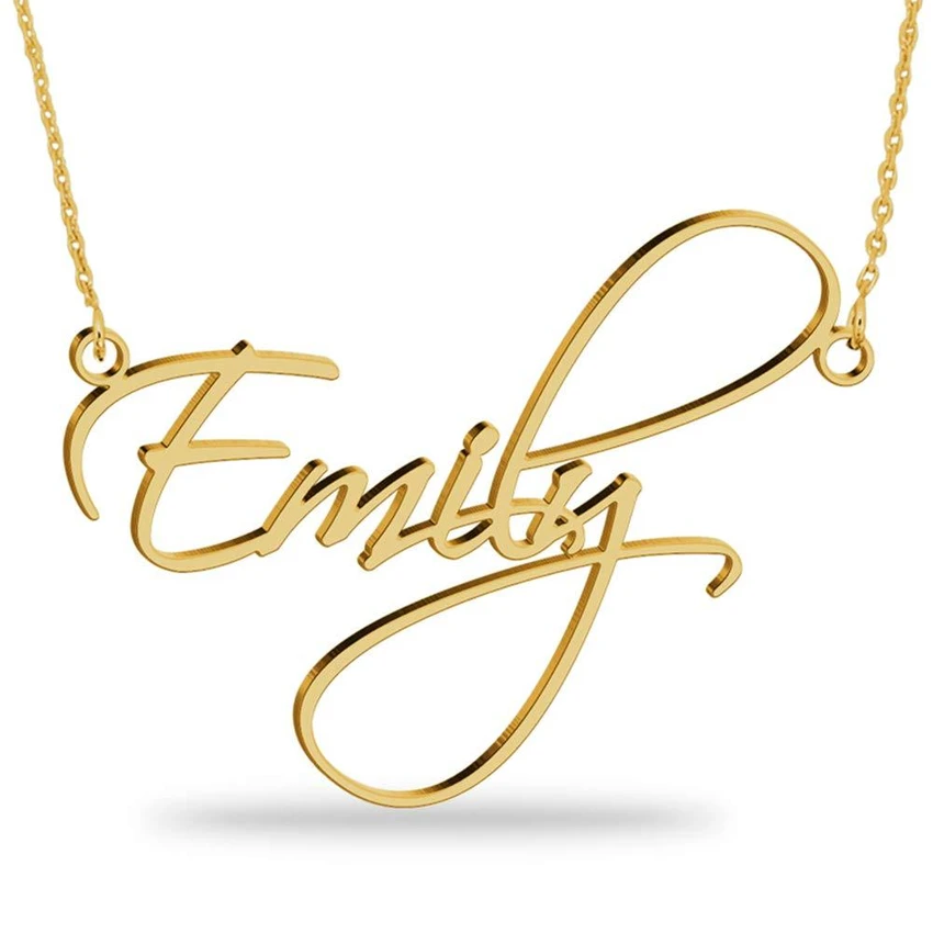 18K Gold Plated Name Necklace Personalized Sterling Silver