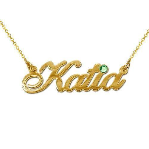 Hot Sale 18K Gold Name Necklace With Birthday Stone Jewelry with Adjustable Chain