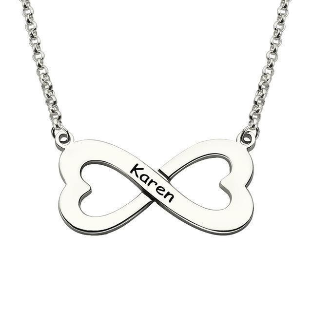 Double Heart Infinity Love Necklace With Personalized Name 925 Sterling Silver