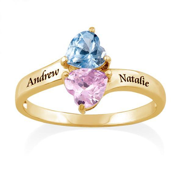 Personalized 2 Name Ring With Birthstone