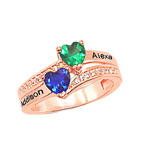 Personalized Two Name Ring With Birthstone