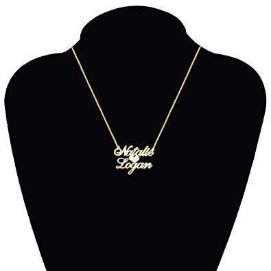 Heart Love Necklace In Middle With Personalized?Customized Two Names 18K Gold Plate