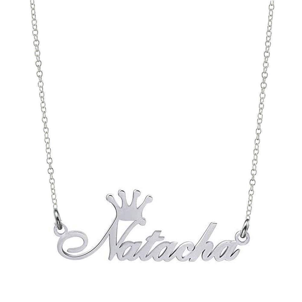 Crown Name Necklace for Women 18K Gold Planting Jewelry