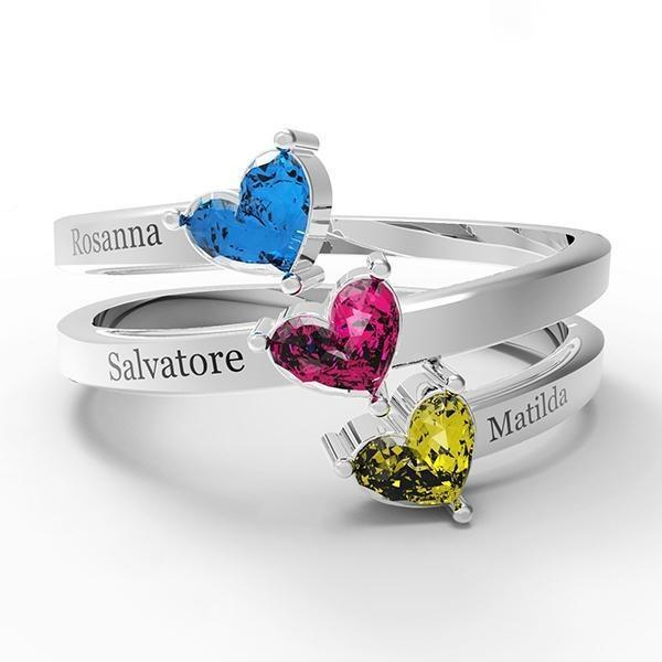 Personalized Three Birthstone Name Ring
