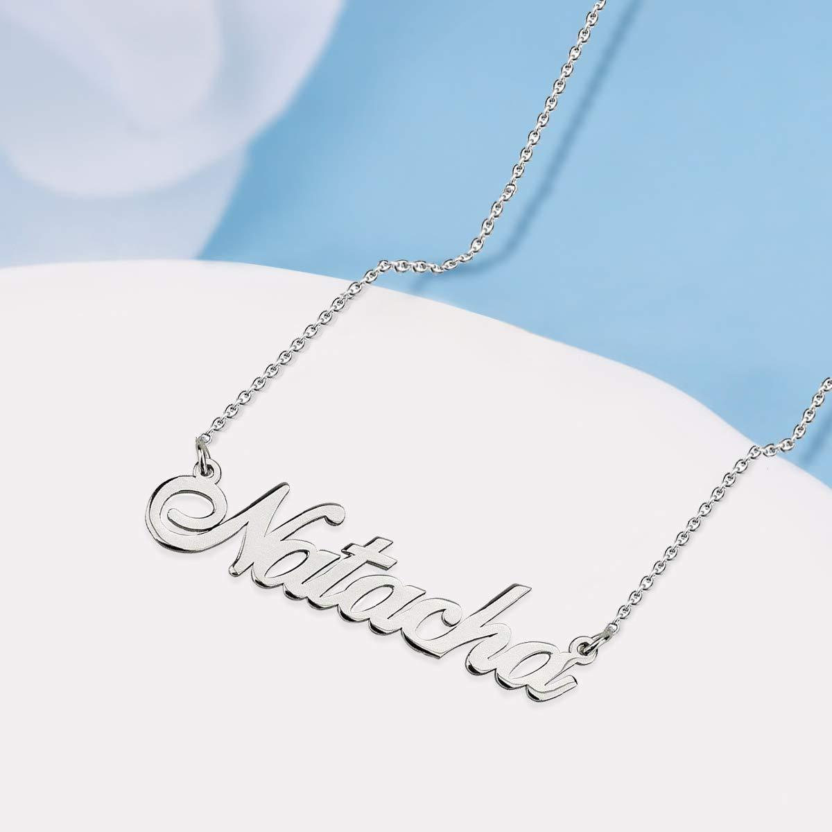 Hot Personalized Name Engraved Necklace Gold 18K Plated