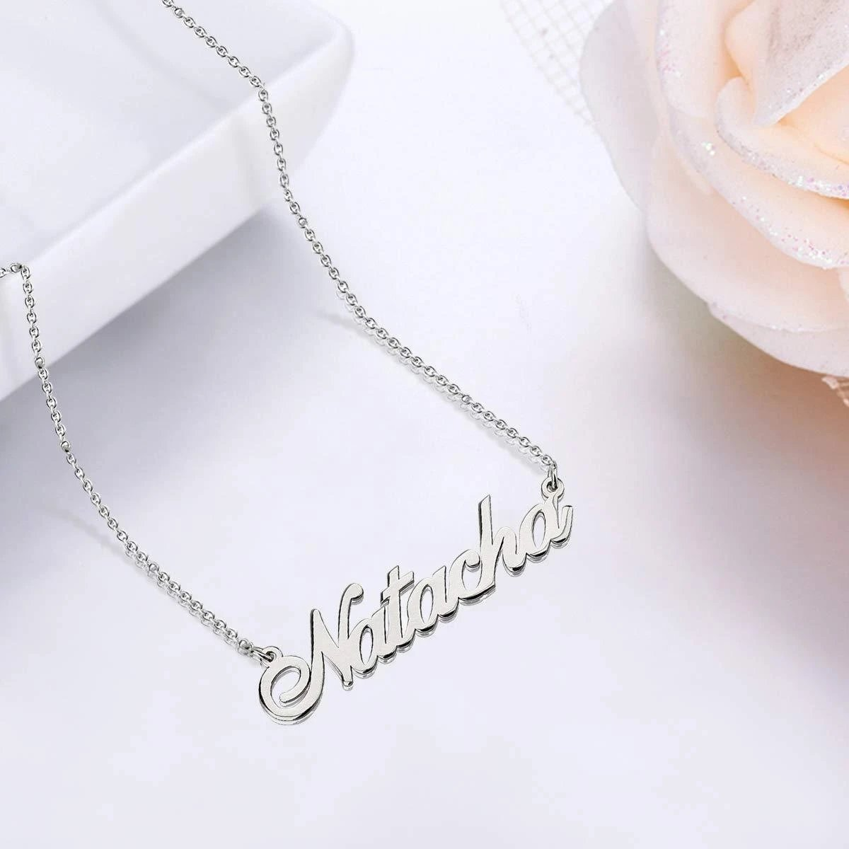 18k Gold Plating Engraved Names Necklace Custom with Adjustable Chain