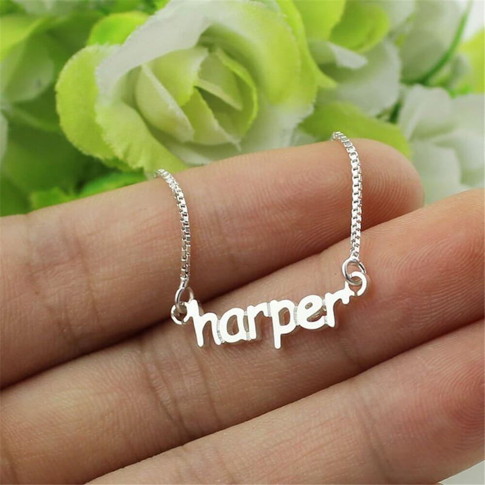 Engraved Name Necklace 925 Sterling Silver