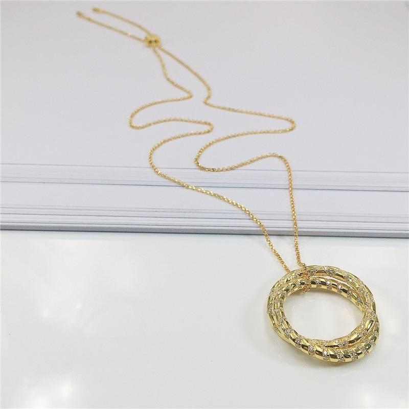 Fashion Double Circle Pendant Yellow Gold Plated Sterling Silver Necklace