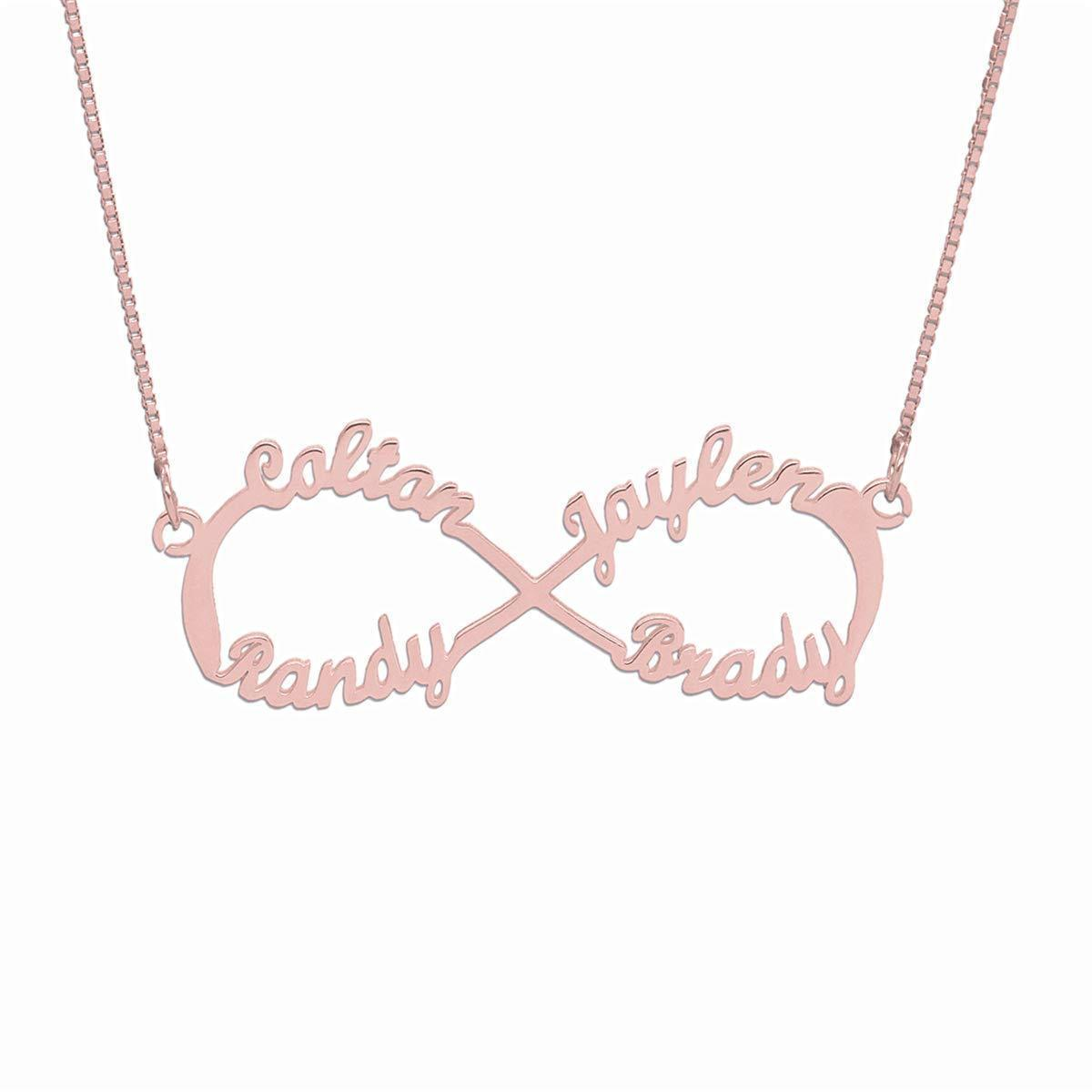 Infinity Necklace With Engraved Any 4 Names 925 Sterling Silver