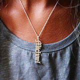 Vertical 18k Gold Plated Old English Personalized Custom Name Necklace