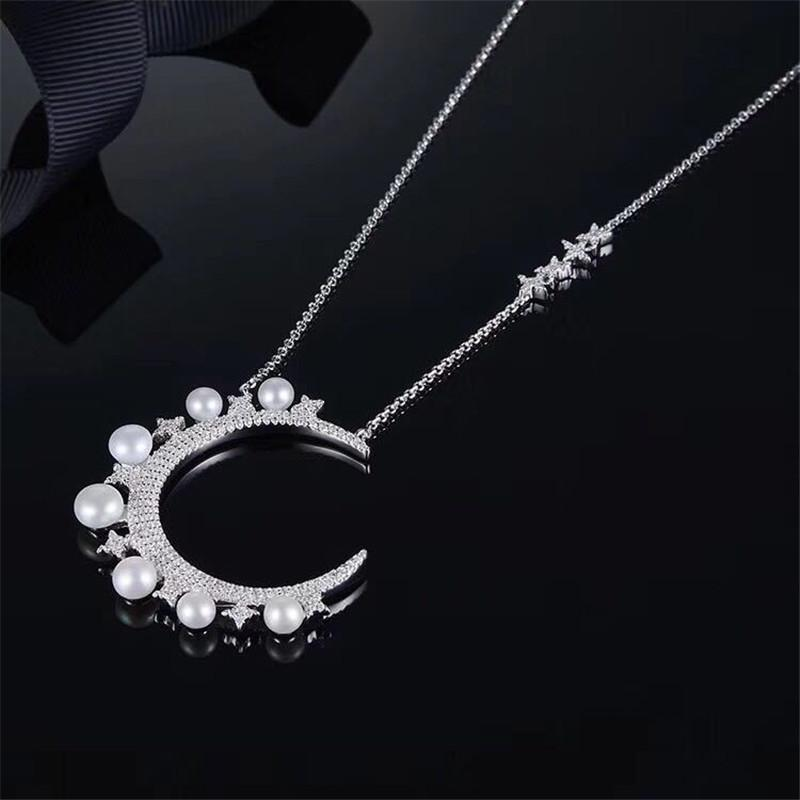 Moon Shape Pearl Little Stars Sterling Silver Necklace